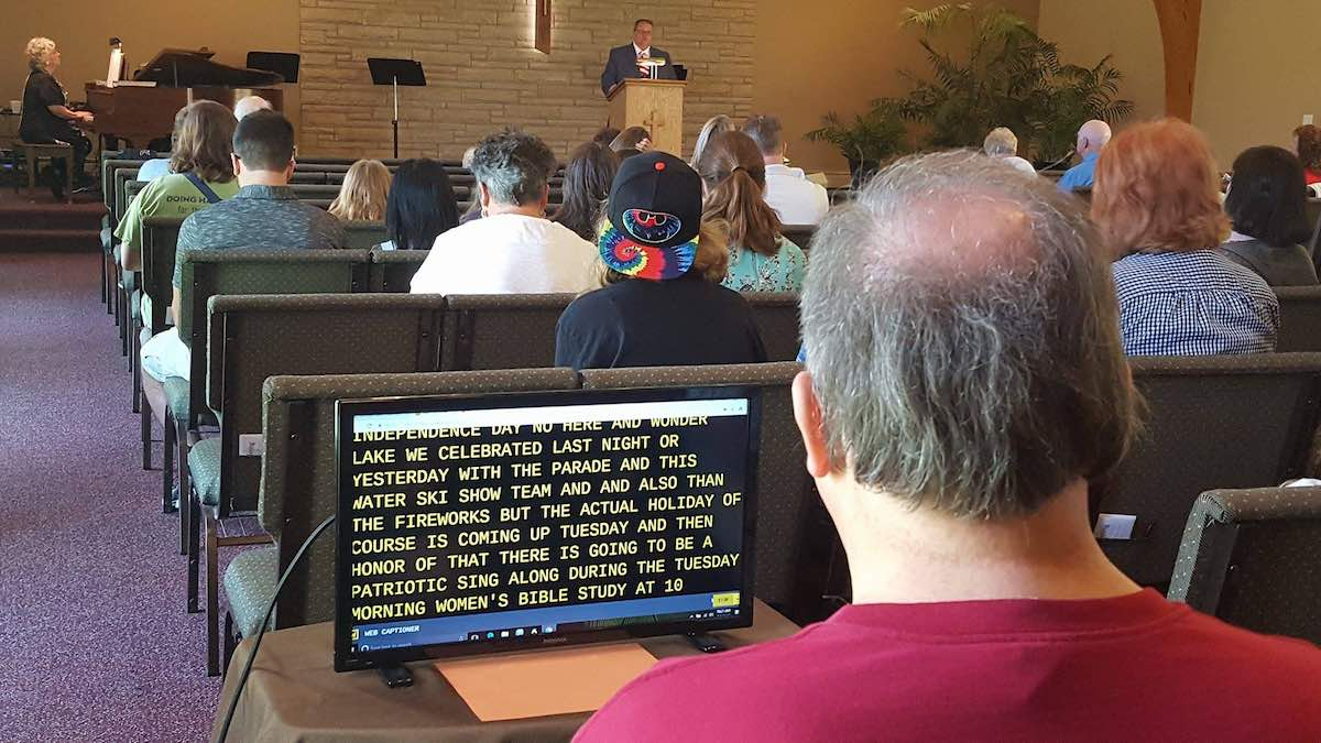 Web Captioner in action at my small church.